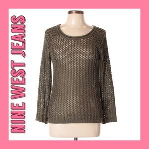 [Nine West Jeans] Olive Green Crocheted Sweater M